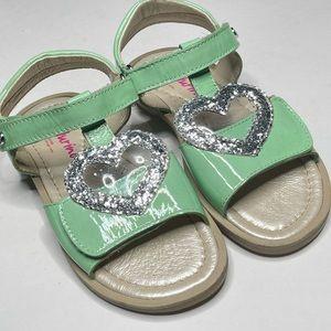 New Naturino SeaFoam Leather Heart Sandal Glitter